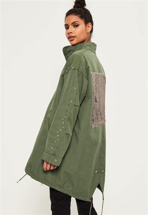 17571 Color Oversize S M Sale Dress missguided khaki sequin back oversized parka in green lyst