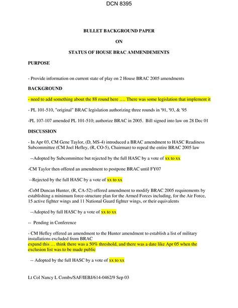 bullet background paper bullet background paper on status of house brac