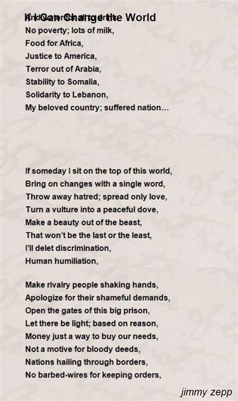 if i can change the world poem by jimmy zepp poem hunter