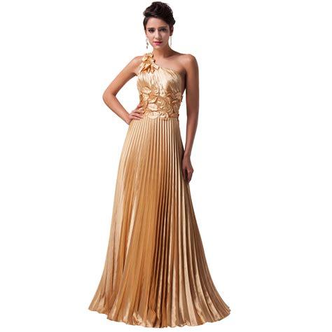 design dress satin shining gold one shoulder leaf design pleated satin