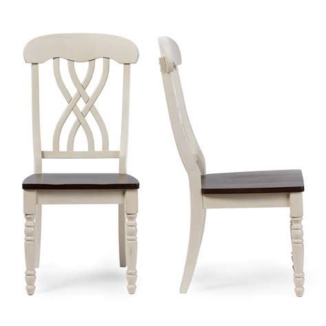 distressed antique white dining chairs baxton studio newman chic country cottage antique oak wood
