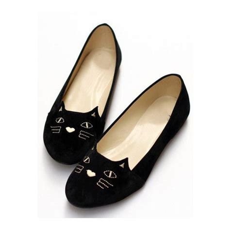 cat flat shoes shein sheinside black cat print toe flats found on