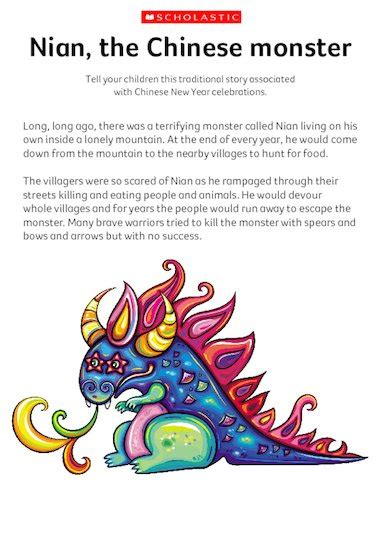 new year story resources nian the monster traditional story early