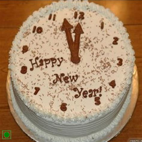 new year cake designs send new year cake with clock design by giftjaipur