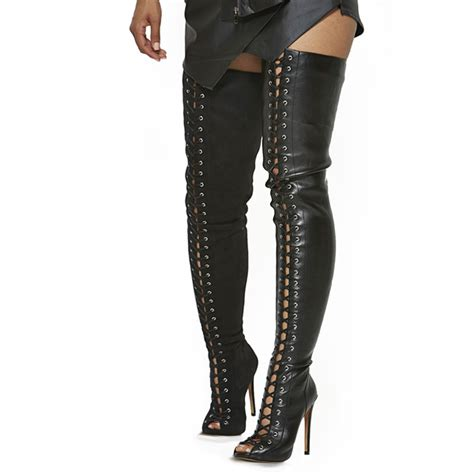 black leather lace up thigh high boots open toe