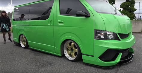 lamborghini minivan two toyota hiace vans get lamborghini bumpers and paint