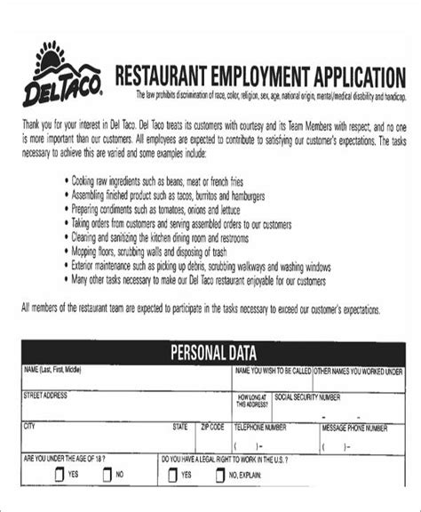 49 Job Application Form Templates Free Premium Templates Restaurant Application Template