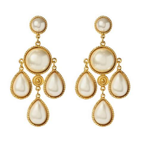 Gold Pearl Chandelier Earrings Ben Amun Pearl Chandelier Earrings In Gold Pearl Lyst