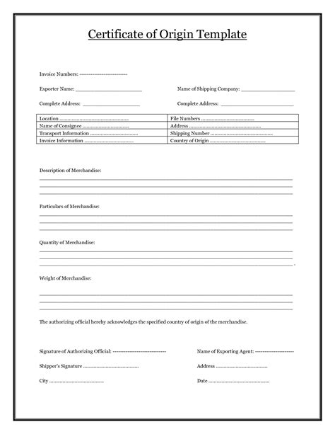 certificate of template certificate of origin template pdf blank certificates