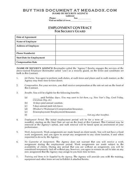 security guard employment contract legal forms and