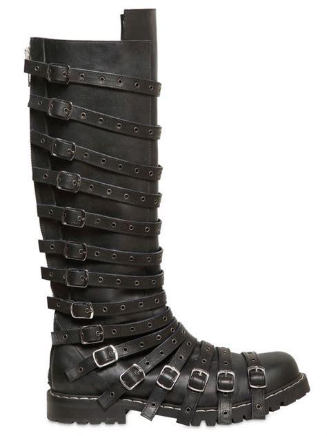 gareth pugh mens boots gareth pugh perforated multi leather boots in black