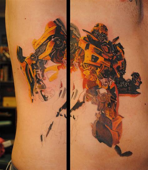biomechanical transformer tattoo cool bumblebee side tattoo tattoomagz