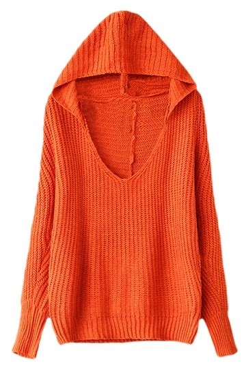 orange womens  neck plain pullover hooded knit sweater pink queen