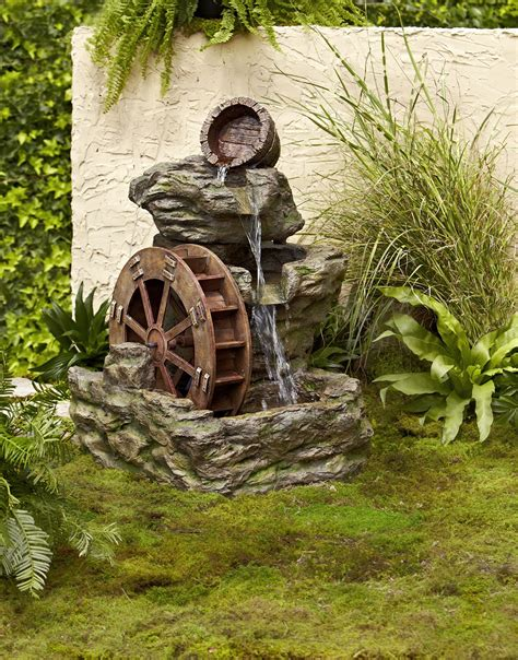 rock fountains for garden garden oasis lighted rock with wheel shop your