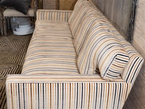 striped velvet sofa midcentury sofa in striped cut velvet for sale at 1stdibs
