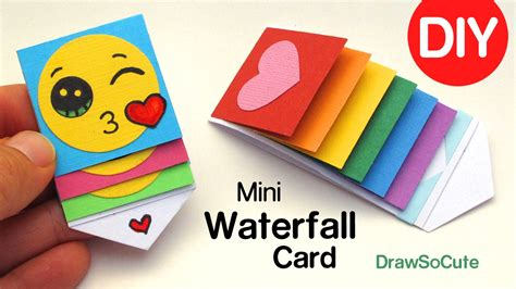 draw so mini waterfall card template how to make a mini waterfall card diy easy craft