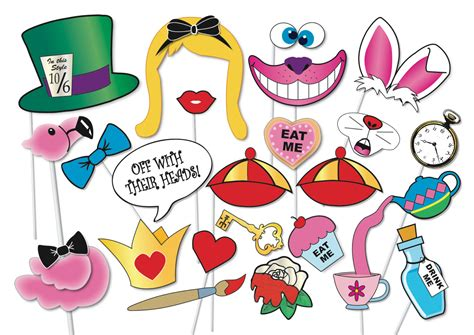 printable alice in wonderland photo booth props alice in wonderland party photo booth props set 33 piece