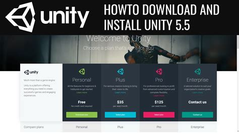 unity tutorial free download how to download and install unity 5 5 2017 youtube