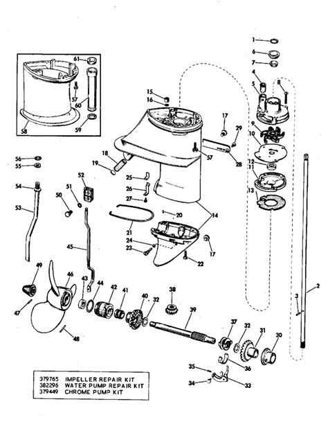 johnson outboard parts diagram johnson gearcase parts for 1971 9 5hp 9r71r outboard motor