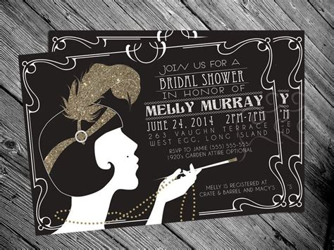 great gatsby invitation template 1920 s gatsby flapper bridal shower invitation great