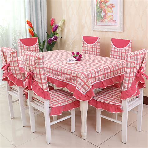 Table Cover Taplak Meja Taplak Ulang Tahun poliester kain meja nappe de table taplak meja dengan kursi penutup merah muda pola kotak