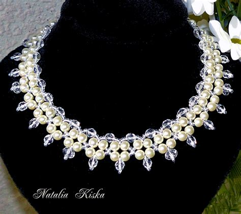 free pattern for necklace crystals and pearls magic