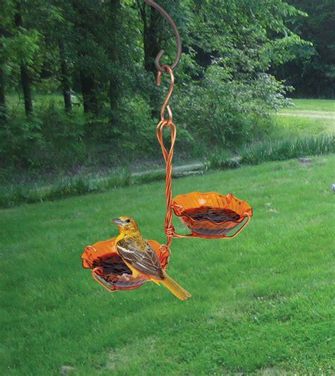 backyard chirper songbird essentials copper double cup jelly oriole bird feeder