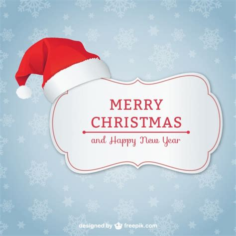 Noel Cards - card with santa hat vector free