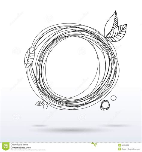 doodle sketch free doodle style pen drawing circle frame stock vector image