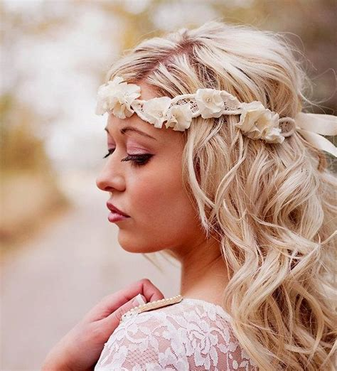 boho lace tieback bohemian chic hairstyles youtube halo headband flower crown bridal head piece wedding