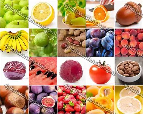 fruit 100 pics 100 pics fruit and nut answers 4 pics 1 word