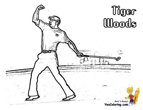 tiger woods coloring page two fisted golf coloring golf sports coloring free