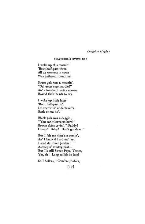 langston hughes biography poetry foundation sylvester s dying bed by langston hughes poetry magazine