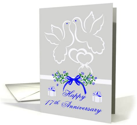 traditional 17th wedding anniversary gifts 17th wedding anniversary white doves card 921733