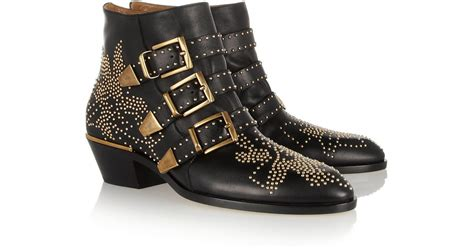 chlo 233 susanna studded leather ankle boots in black lyst