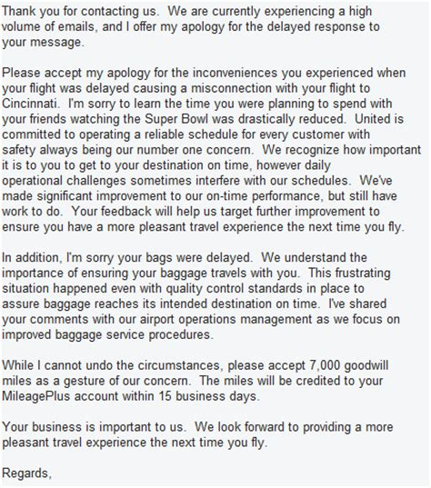 Exle Complaint Letter Airline Company Response Of United Airlines To My Complaint World