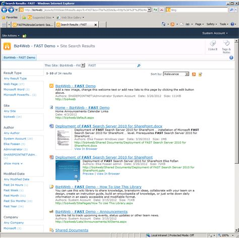 Fast Search Usage Of Fast Search Including Document Preview