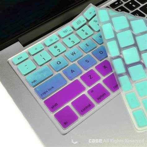 Keyboard Projector Silicone Mixed Color Macbook 13 15 top faded ombre series light blue purple silicone