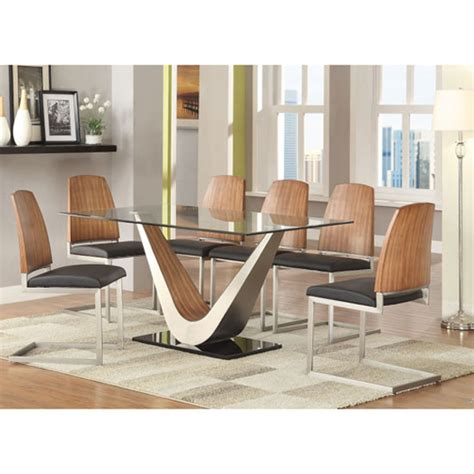 6 chair dining table price cobra clear glass top dining table in walnut base and 6
