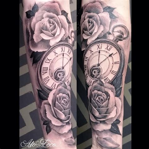 half open rose tattoo black and gray half sleeve tattoos clocks search