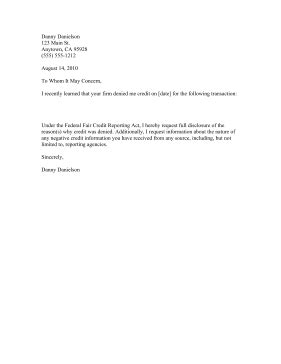 Sle Business Letter Denying Credit Why Denied Credit Letter Template