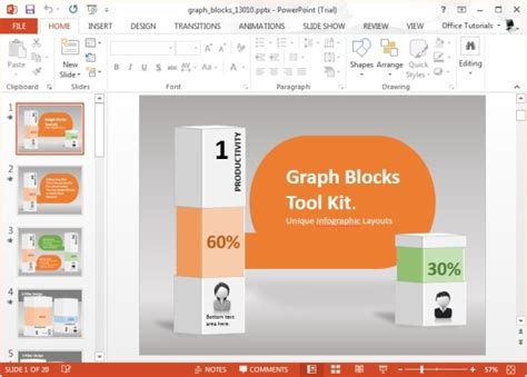 animated graph blocks template for powerpoint powerpoint