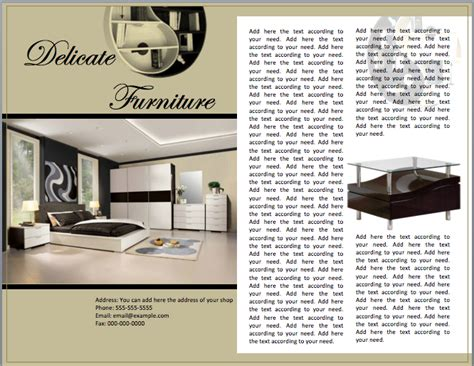 furniture sales brochure template format template