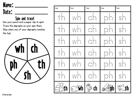 free spin and trace digraph worksheet kindergartenklub