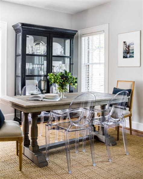 eclectic dining room  weathered table  acrylic