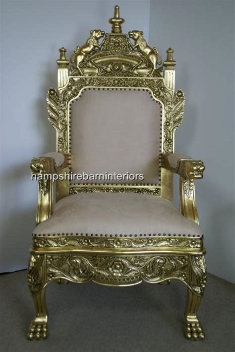 Royal Throne Chair by The Tudor Royal Throne Chair In Gold Leaf Antiqued Aged