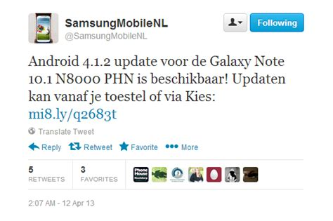 android 4 1 2 update android 4 1 2 update voor samsung galaxy note 10 1 3g beschikbaar