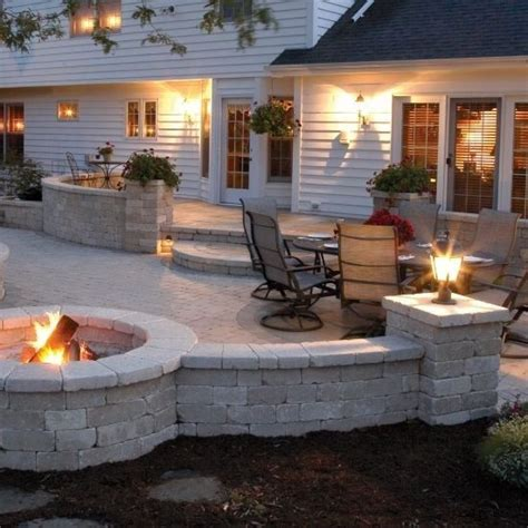 backyard stone fire pit stone patio with fire pit someday deck landscape