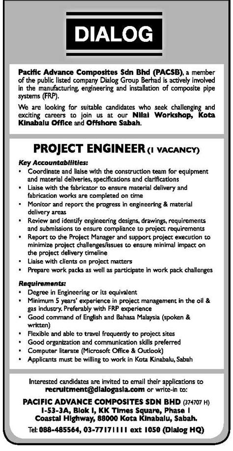 design engineer job vacancy selangor oil gas vacancies project engineer dialog sabah