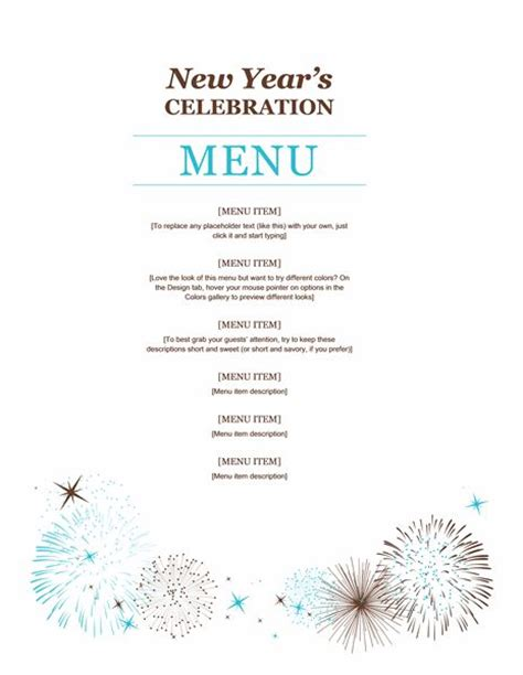 dinner menu template for home new year menu template my favorite word